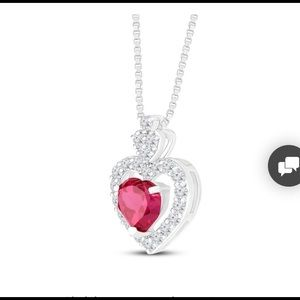 Jewelry - Natural ruby and sapphire dangling heart pendant
